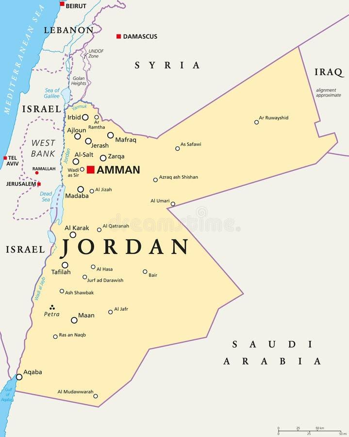Jordanowska Polityczna mapa ilustracja wektor