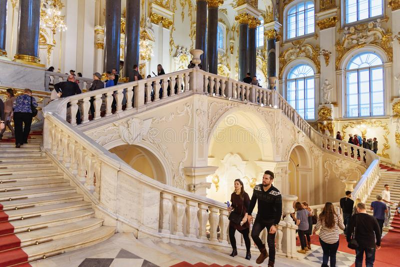 Jordanowski schody w zima pałac, stanu eremu muzeum saint petersburg Rosja zdjęcia royalty free