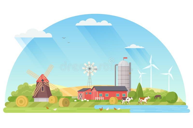 Jordbruk, Agribusiness och bruka begreppsillustrationen Lantlig plan landskapvektorillustration royaltyfri illustrationer