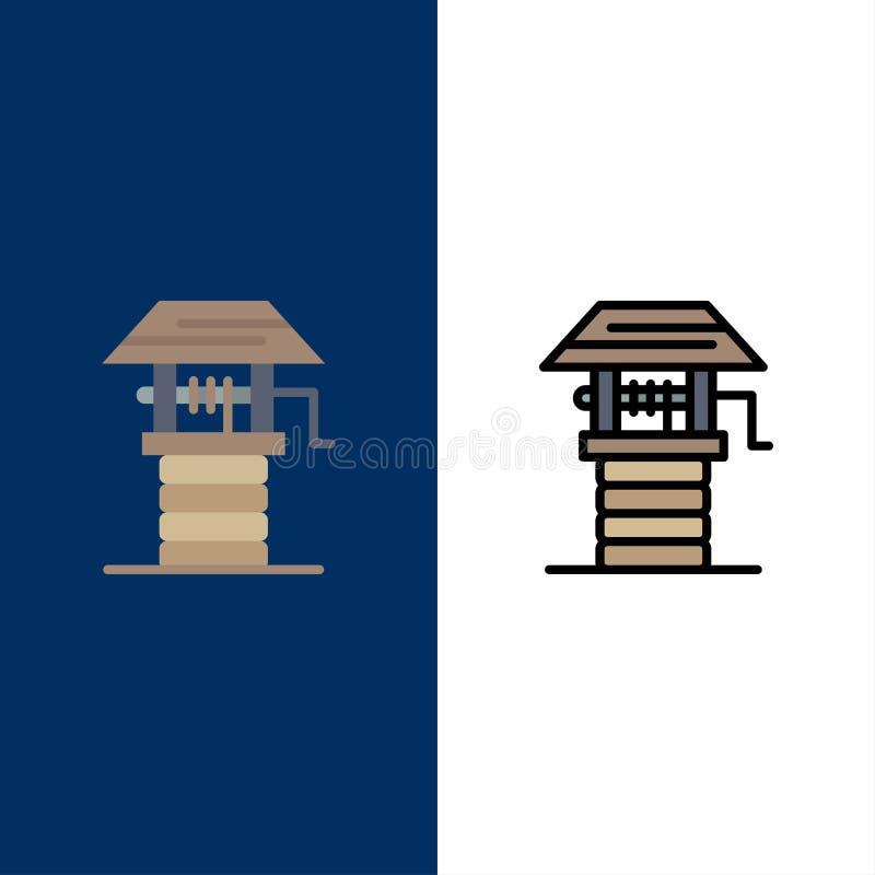 Jordbruk lantgård och att bruka, väl symboler Lägenheten och linjen fylld symbol ställde in blå bakgrund för vektorn vektor illustrationer
