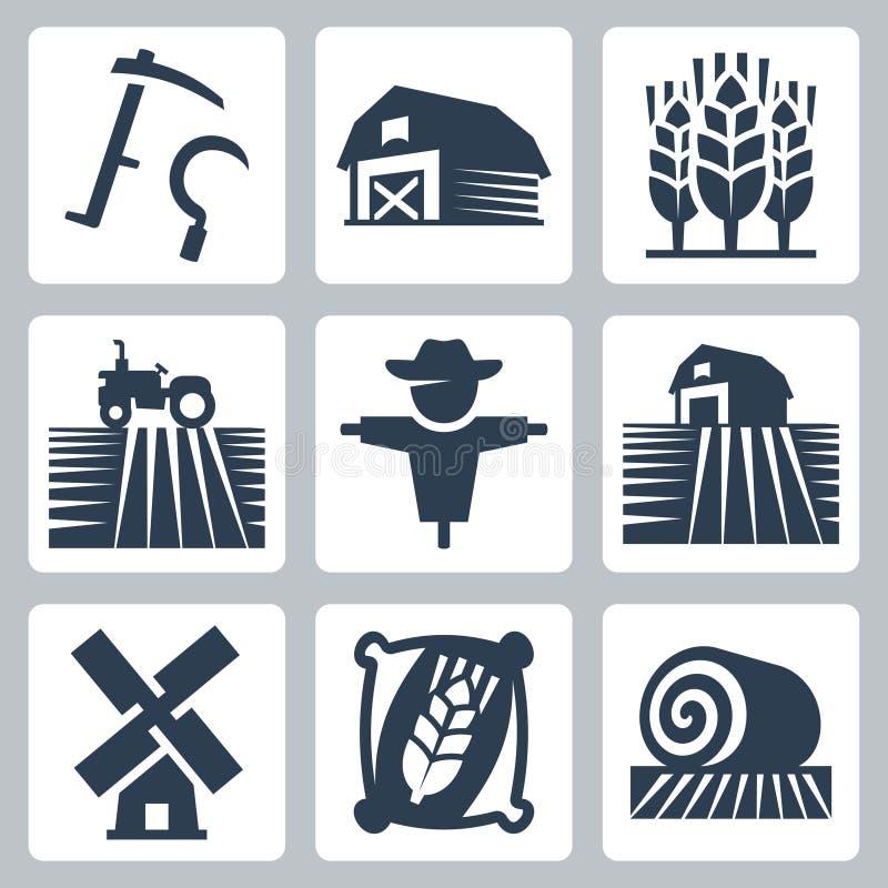 Jordbruk- och lantbrukvektorsymboler stock illustrationer