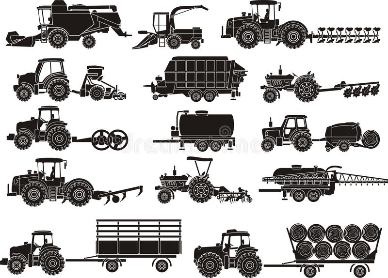 Jordbrukmaskinuppsättning royaltyfri illustrationer