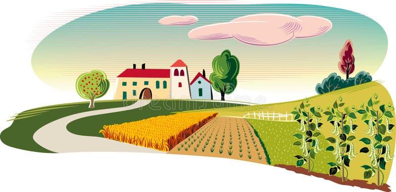 Jordbruks- landskap med en lantgård royaltyfri illustrationer