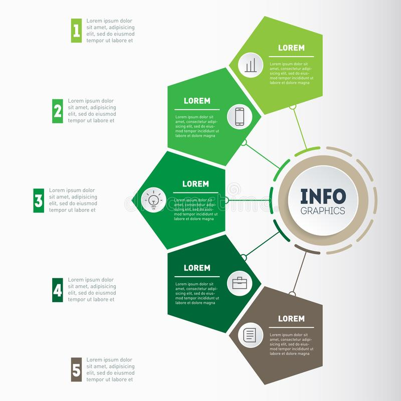 Jordbruks- mall för broschyrorienteringsdesign med 5 moment Begrepp för lantbruk- och jordbruklivinfographics stock illustrationer
