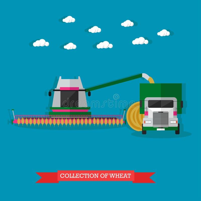 Jordbruks- maskineri på fältskördetröskan och lastbilen, vektorillustration vektor illustrationer