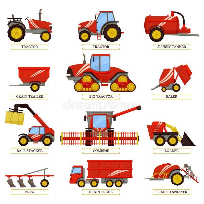 Jordbruks- maskineri som mot efterkrav skördar uppsättningen vektor illustrationer