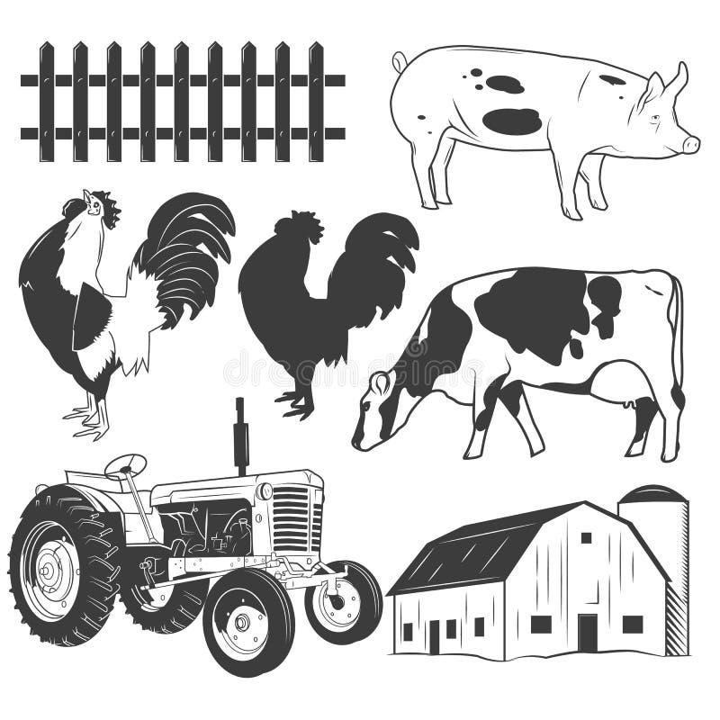 Jordbruks- objektvektoruppsättning som isoleras på vit bakgrund Bruka etiketter, designbeståndsdelar, symboler vektor illustrationer
