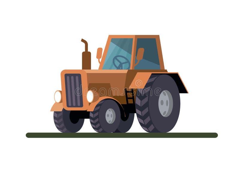Jordbruks- traktor för hjul Kulör vektorillustration på vit stock illustrationer