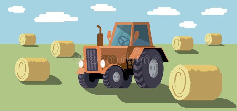 Jordbruks- traktor för hjul plockning Kulör illustration royaltyfri illustrationer