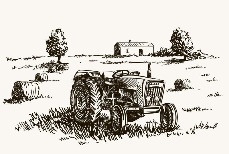 Jordbruks- traktor för hjul Vektorn skissar vektor illustrationer