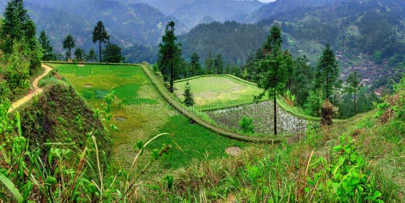 Jordbruks- vårlandskap i den bergiga, lantliga södra västra Kina. arkivbild
