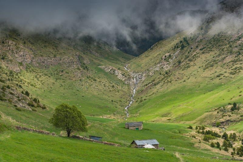 Jordbruksmarker i höga Pyrenees, Andorra arkivfoto