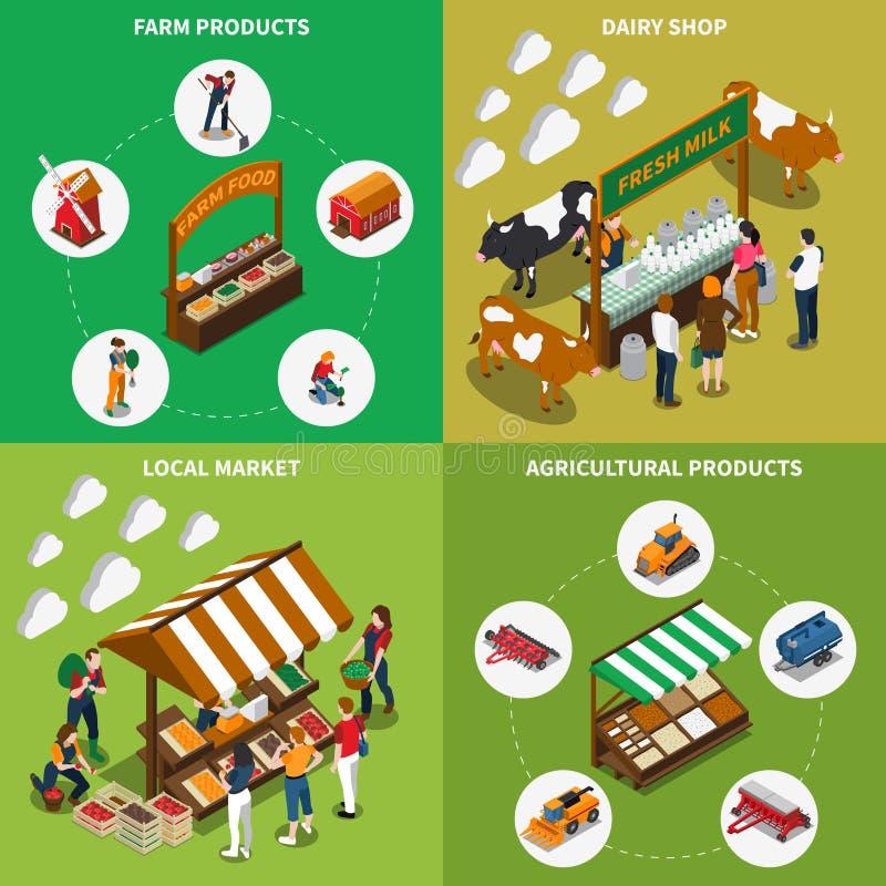 Jordbruksmarknaddesignbegrepp royaltyfri illustrationer