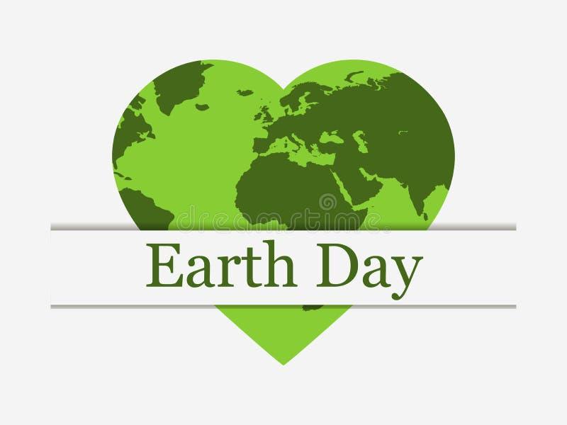 Jorddag, planetjord i form av en hjärta Världsdag vektor stock illustrationer