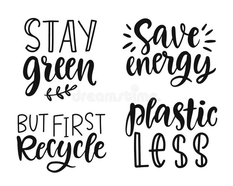Jorddagen, plast- fritt, återanvänder, går gräsplan, räddningenergibegrepp citerar uppsättningen vektor illustrationer