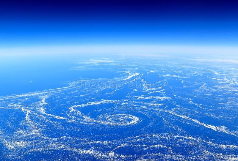 Jorden från över: Sväva havsis som fångas i marin- strömmar royaltyfria foton