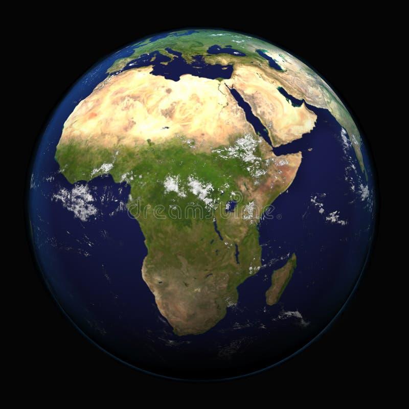 Jorden från utrymme som visar Afrika 3d, framför illustrationen Andra tillgängliga riktningar royaltyfri illustrationer