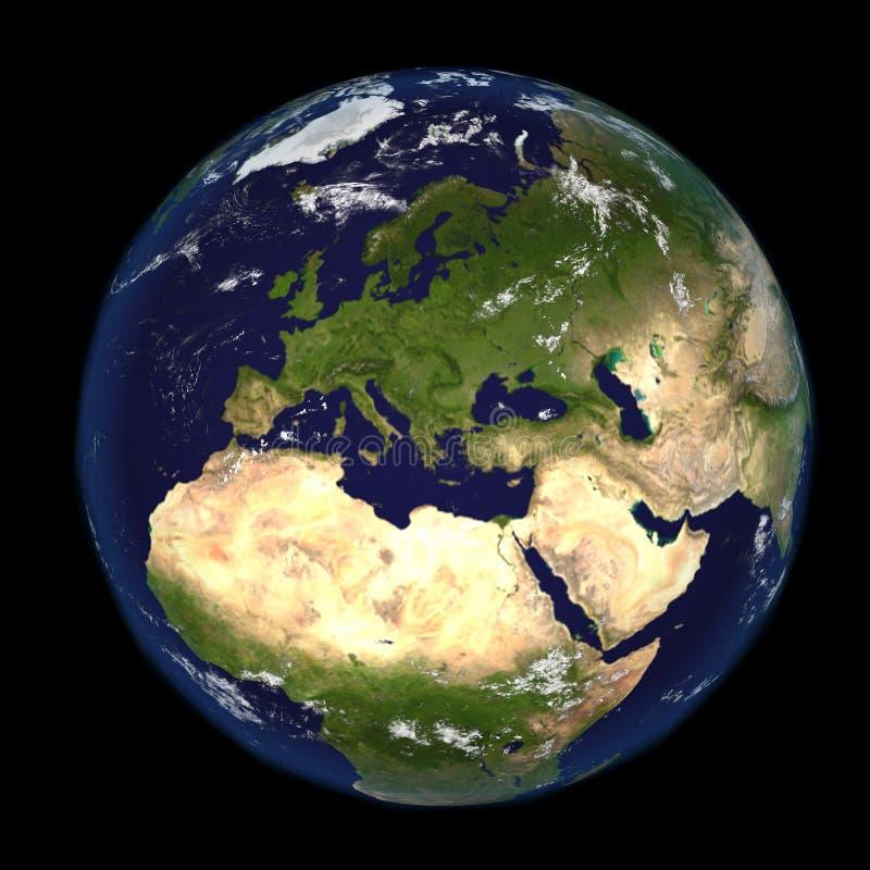 Jorden från utrymme som visar Europa och Afrika 3d, framför illustrationen Andra tillgängliga riktningar royaltyfri illustrationer
