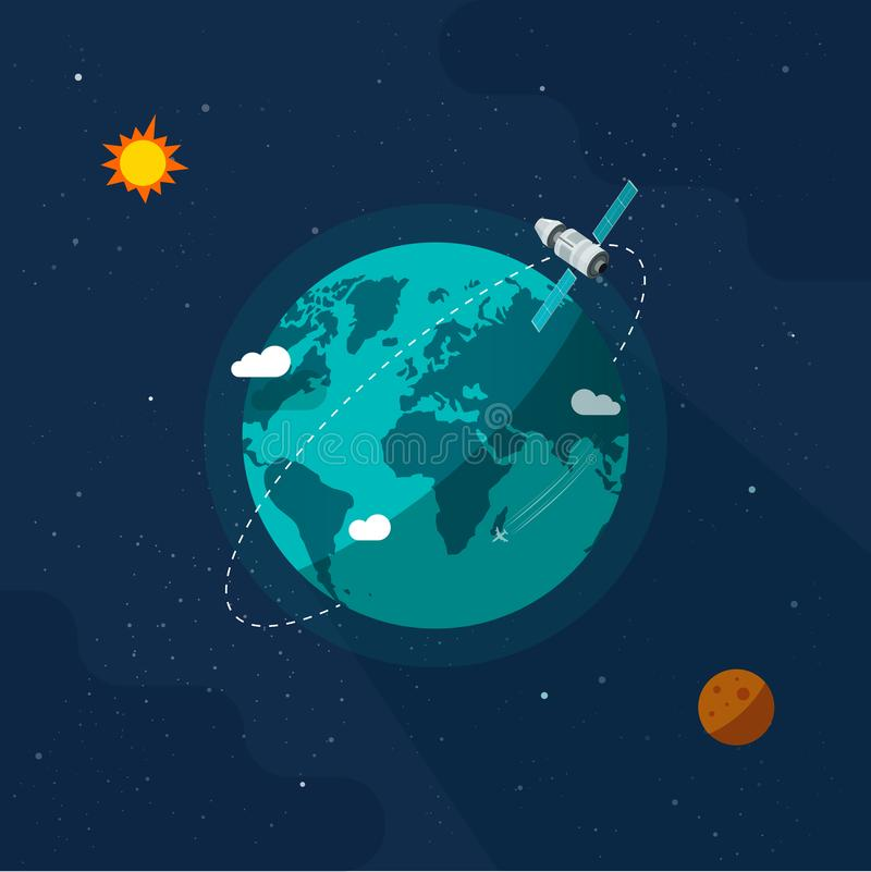 Jorden i vektorbilden för yttre rymden, ett platt karikatyrsatellitfartyg som flyger runt jorden på solsystemet stock illustrationer