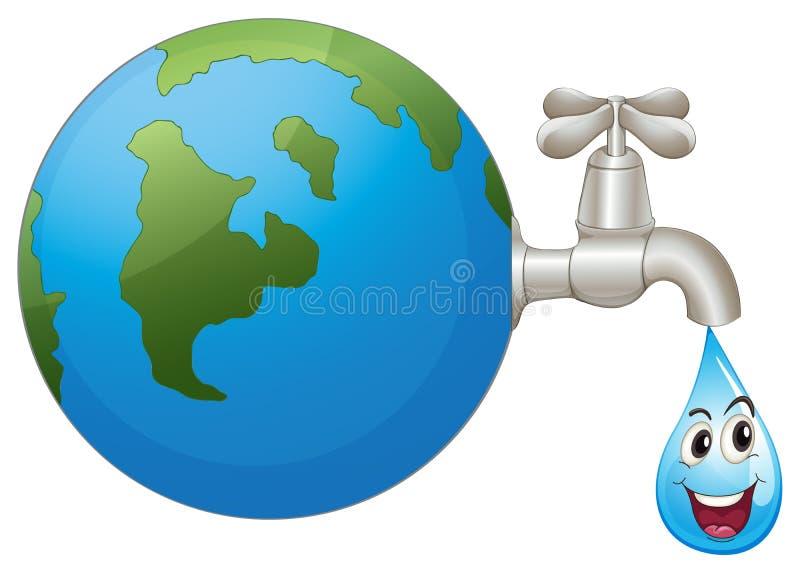 Jorden och en bevattna tappar royaltyfri illustrationer