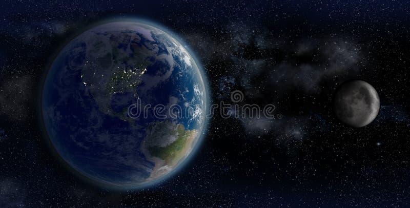 Jorden och månen från utrymme på en bakgrund för stjärnafält vektor illustrationer