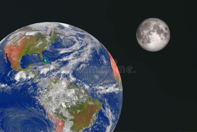 Jorden och månen i utrymmet royaltyfri bild