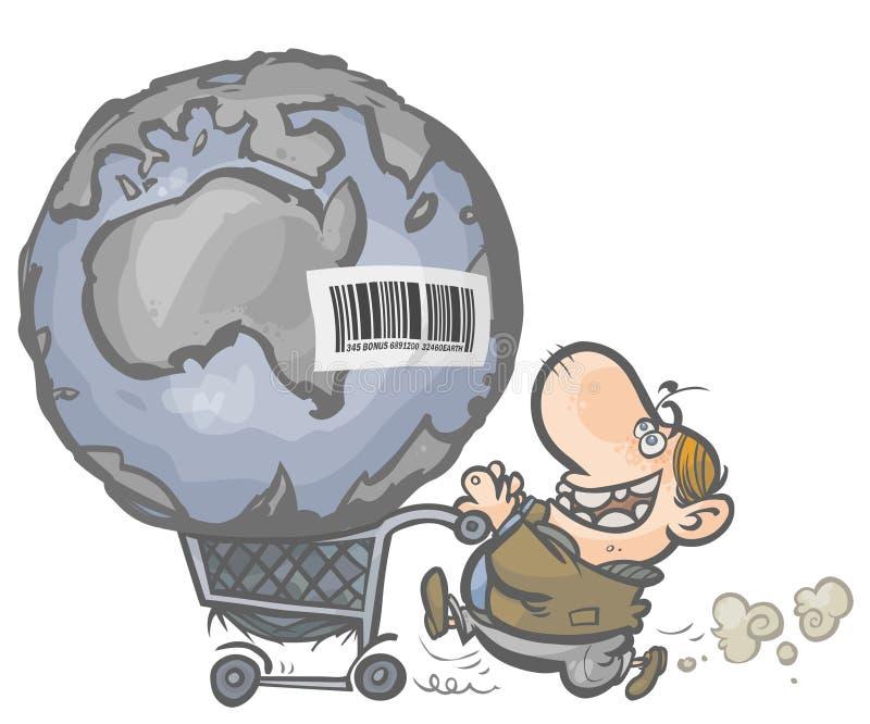 Jorden som en artikel a i en shoppingvagn. royaltyfri illustrationer
