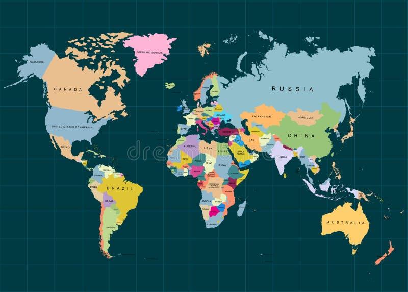 Jorden, världskarta på mörk bakgrund också vektor för coreldrawillustration stock illustrationer