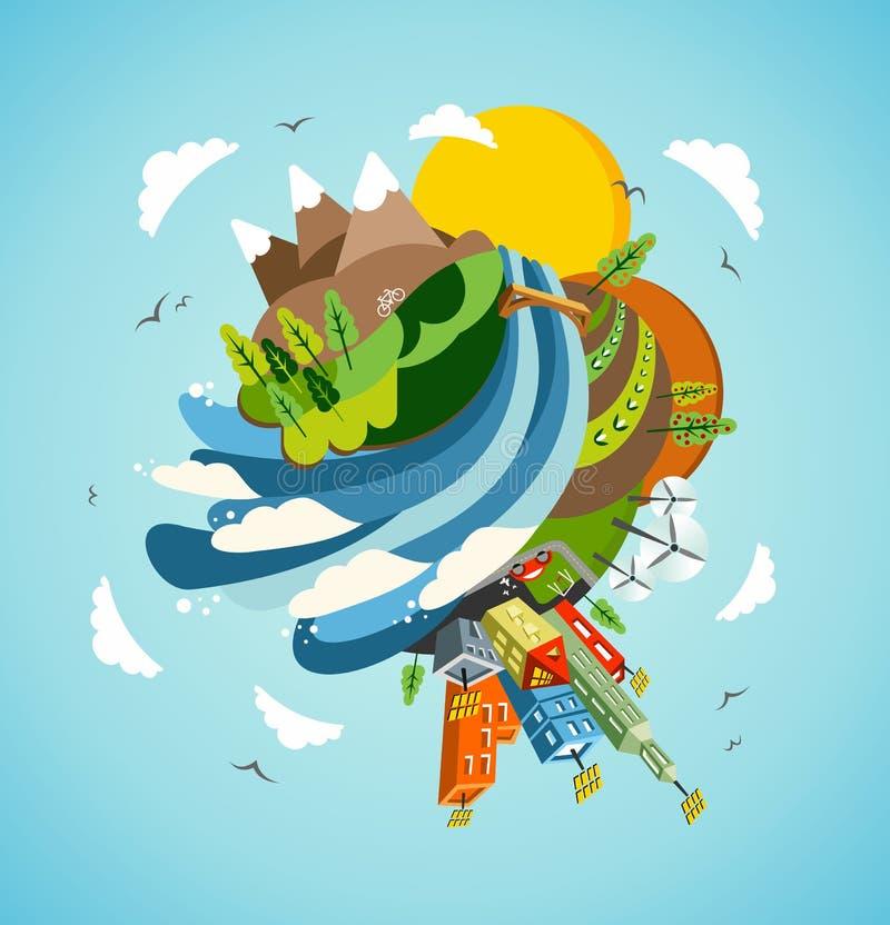 jordenergi går den gröna illustrationen stock illustrationer