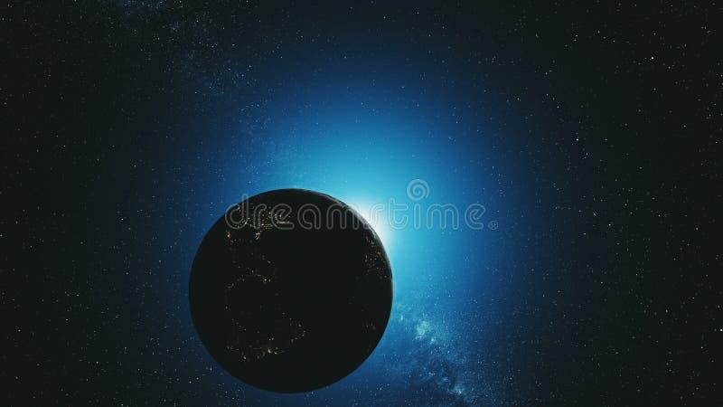 Jordens omloppsbanan v?nder om bl? solstr?lglansyttre rymd stock illustrationer