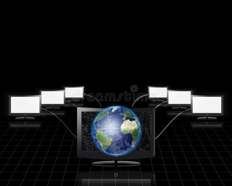 Jordflykter utöver skärmen royaltyfri illustrationer