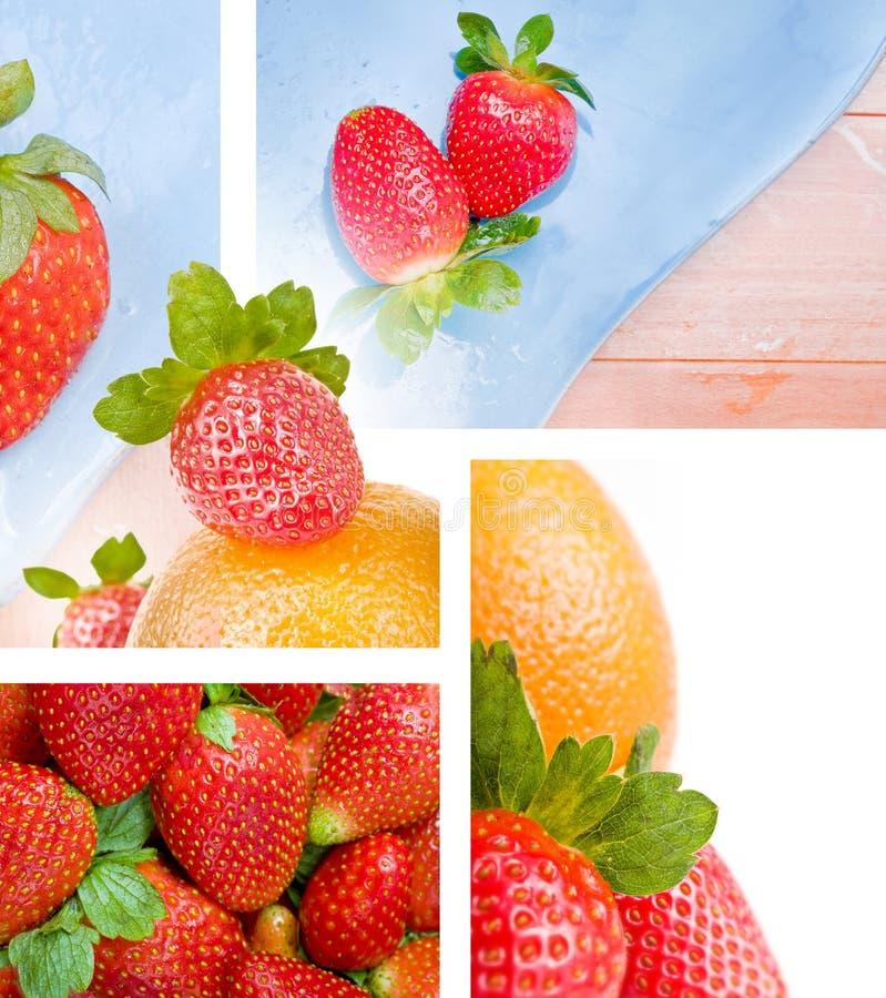 jordgubbar för montageapelsinfoto arkivfoton
