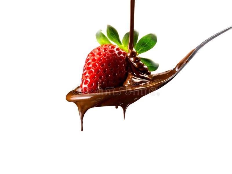Jordgubbar och choklad royaltyfria foton