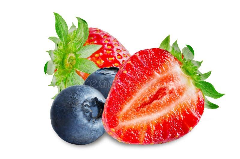 Jordgubbe blåbär, körsbär, hallon på en vit isolerad bakgrund royaltyfri bild