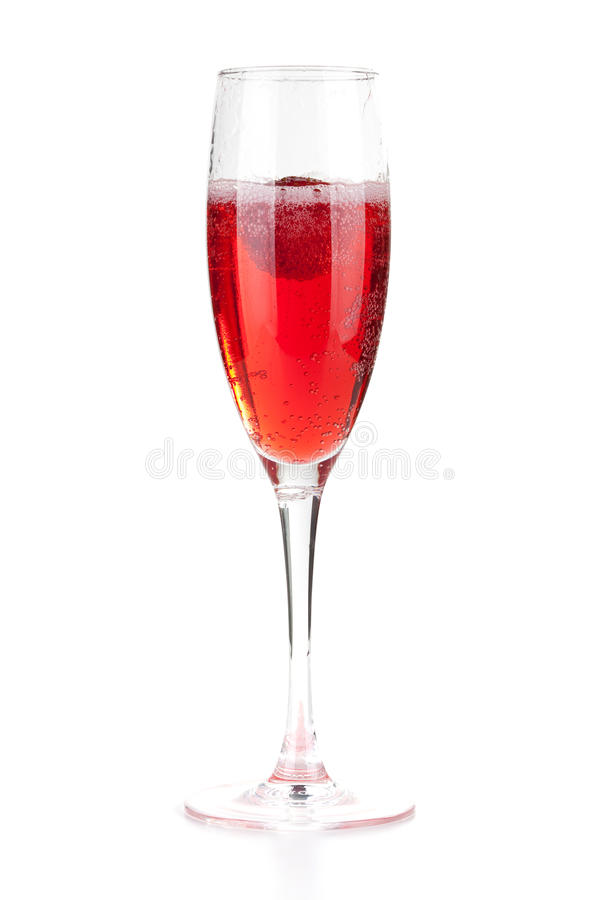 jordgubbe för champagnejulcoctail arkivfoto