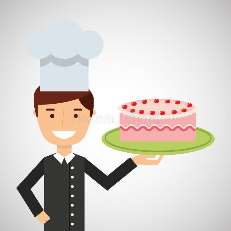 Jordgubbe för kräm för kaka för tecknad filmkockefterrätt läcker royaltyfri illustrationer