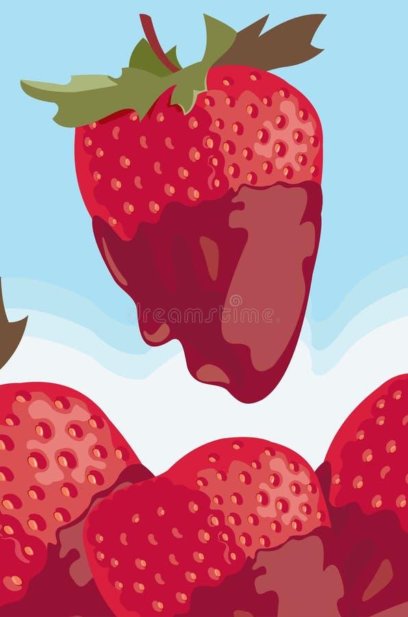 Jordgubbe med kräm vektor illustrationer