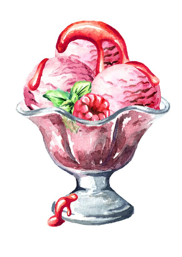 Jordgubbeglass med sirap, bär och mintkaramellen Dragen illustration för vattenfärg som hand isoleras på vit bakgrund vektor illustrationer