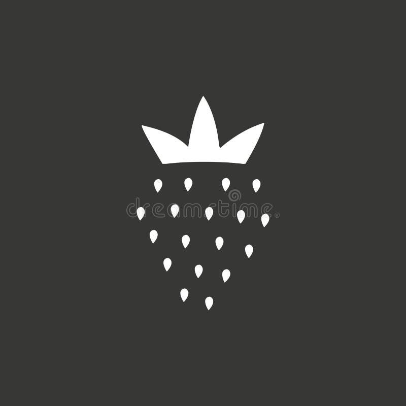 Jordgubbelinje symbol, översiktsvektortecken, linjär pictogram som isoleras på svart Logoillustration vektor illustrationer