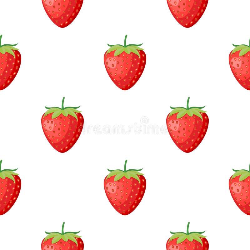 Jordgubben för bärfrukt med den sömlösa modellen för sidor för textil skrivar ut, kort, design Plan stil, vektorillustration royaltyfri illustrationer