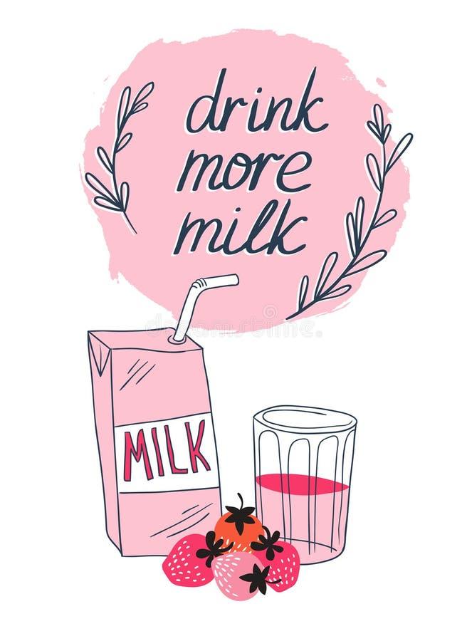 Jordgubben mjölkar den grafiska designen, vektorillustration med stilfullt mjölkar det ask-, glasse- och rosa färgbäret royaltyfri illustrationer