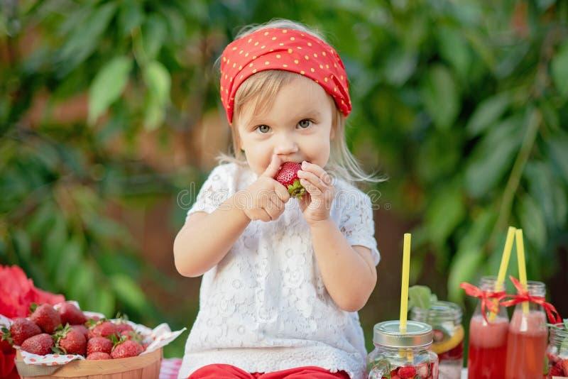 Jordgubben och mintkaramellen ingav detoxvatten jordgubbelemonad med is och mintkaramellen som den förnyande drinken för sommar i royaltyfri bild