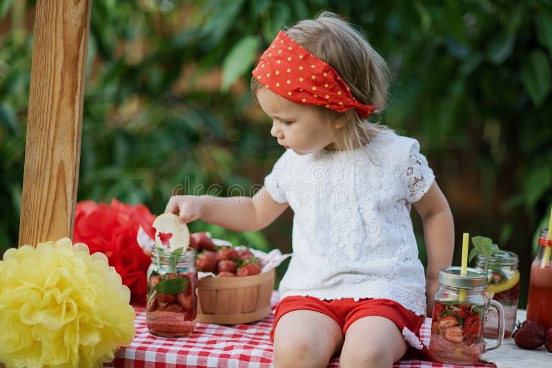 Jordgubben och mintkaramellen ingav detoxvatten jordgubbelemonad med is och mintkaramellen som den förnyande drinken för sommar i fotografering för bildbyråer