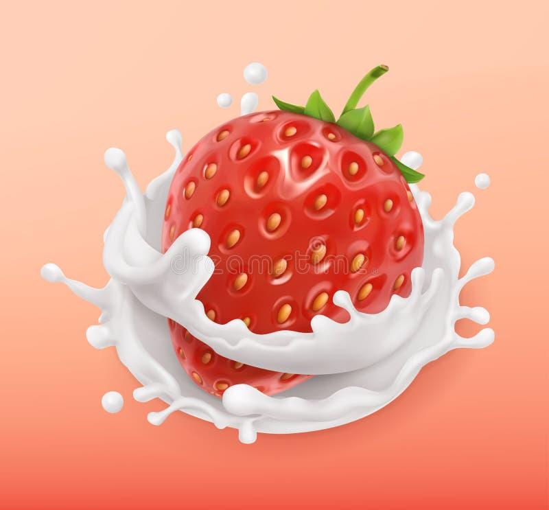 Jordgubben och mjölkar färgstänk Frukt och yoghurt vektor för symbol 3d vektor illustrationer