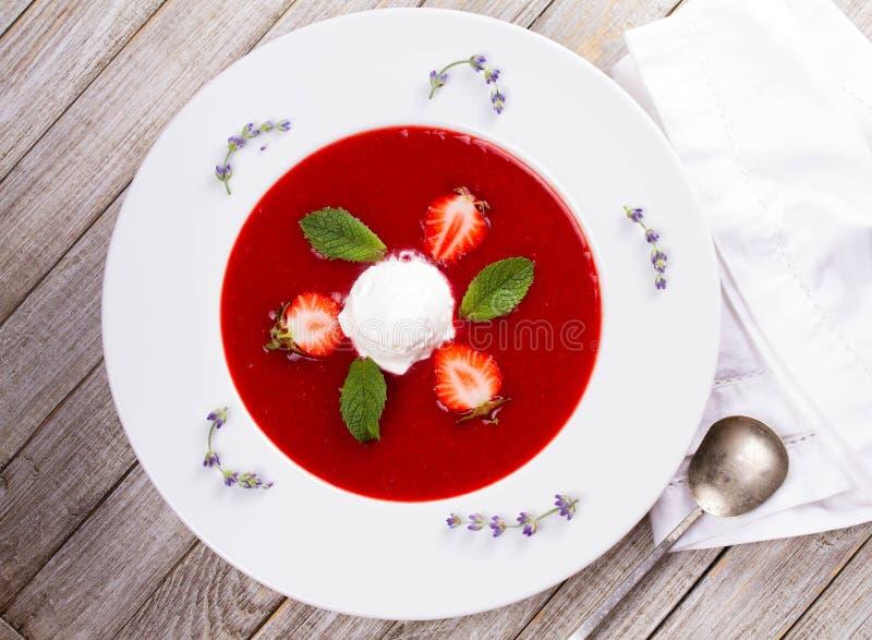 Jordgubbesoppa med glass och mintkaramellen royaltyfri fotografi
