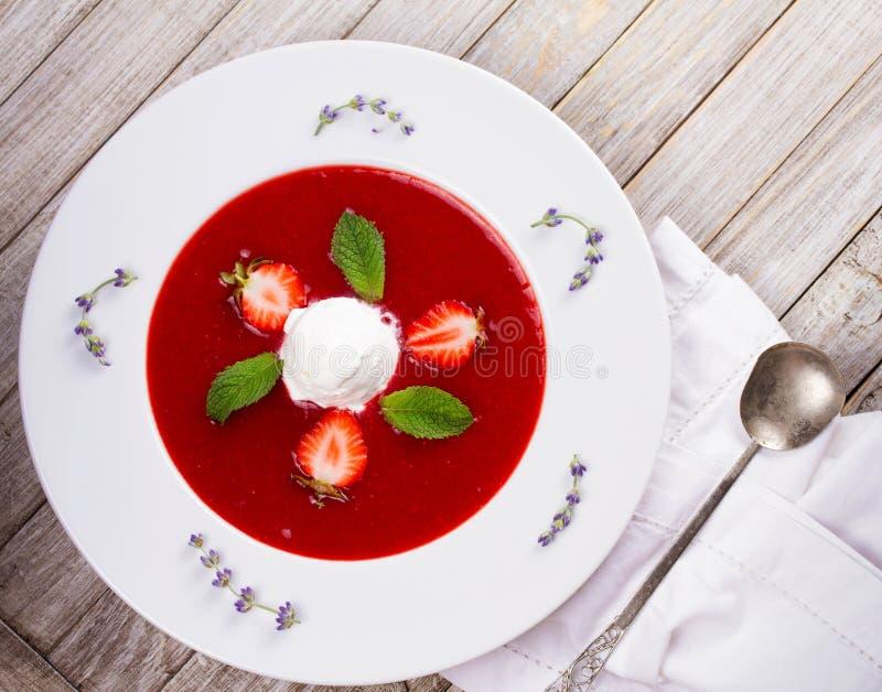 Jordgubbesoppa med glass och mintkaramellen royaltyfri bild