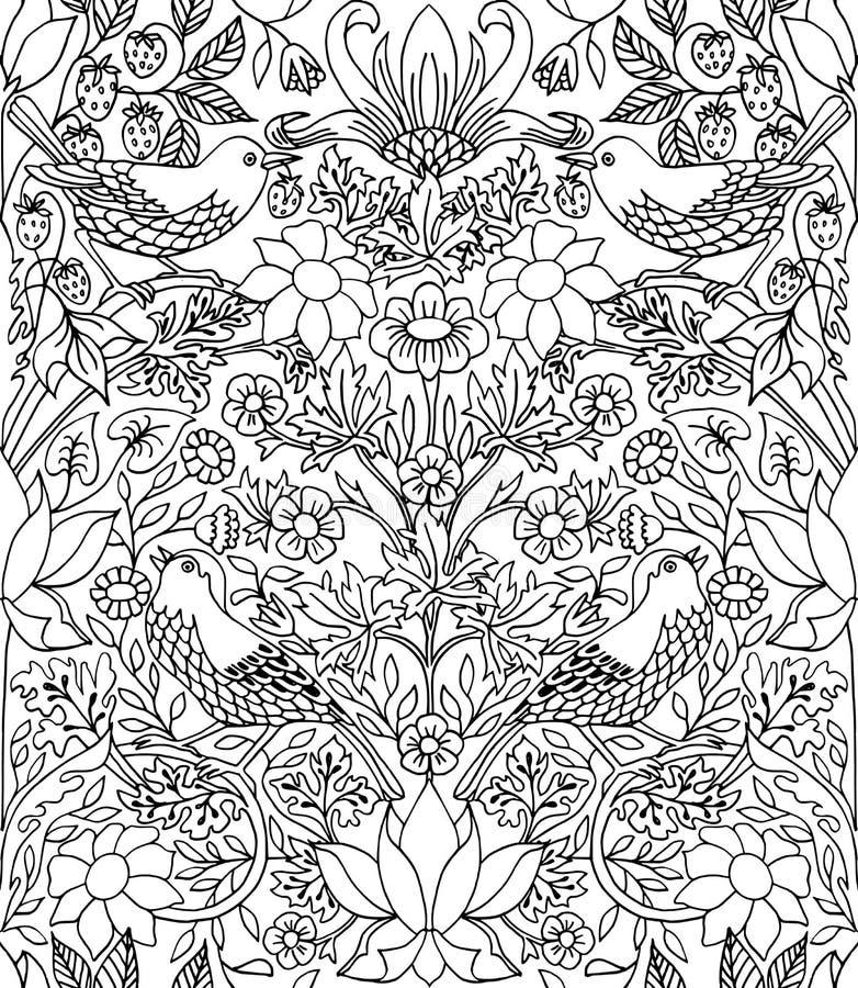 Jordgubbetjuv - hand dragen sömlös modell royaltyfri illustrationer