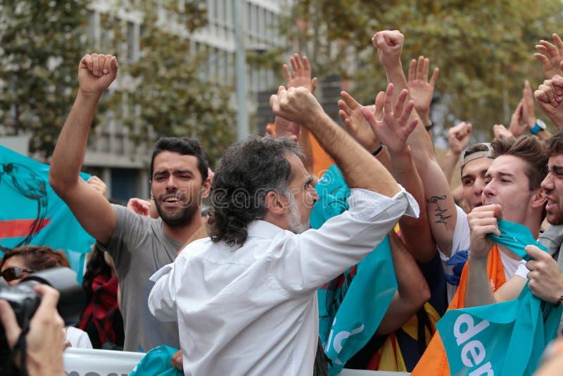 Jordi Cuixart tijdens demostration voor onafhankelijkheid in Barcelona stock afbeelding