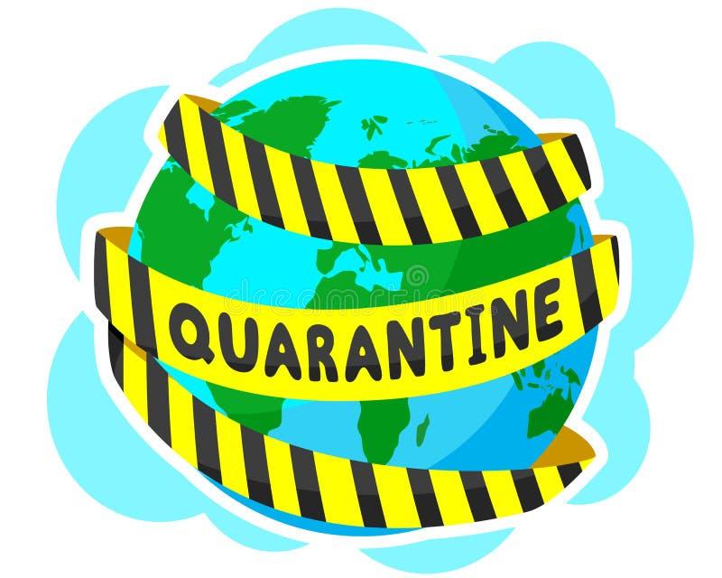 Jordjorden är inslagen i gult karantänband Pandemi, virus över hela planeten stock illustrationer