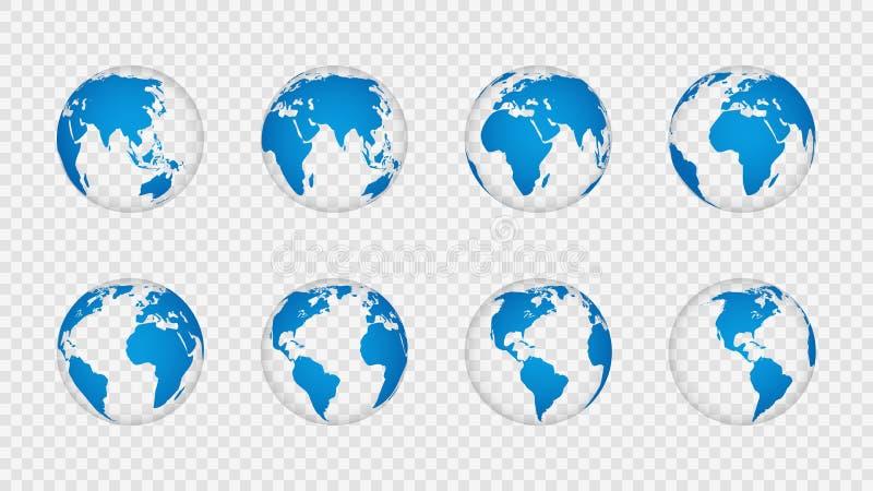 Jordjordklot 3d Realistiska världskartajordklotkontinenter Planet med kartografitextur, geografi som isoleras på vektor illustrationer